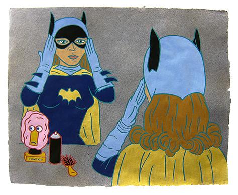 "The Ladies: Yvonne Craig, Batgirl,  2013  16"" x 20"" Flashe on paper"
