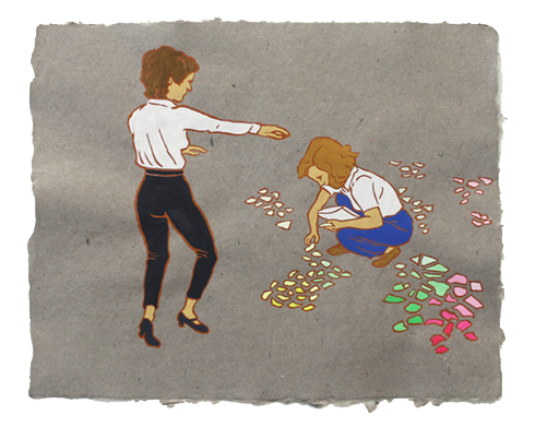 "The Ladies: Elinor Donahue & Kathleen M. Kenyon,  2011  16"" x 20"" Flashe on paper"