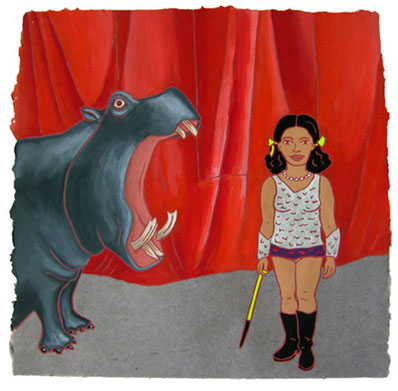 "The Ladies: Hippopotamus Trainer,  2012  16"" x 16"" Flashe on paper"
