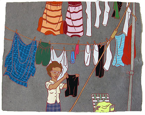 """The Ladies: Laundry,  2012  16"""" x 20"""" Flashe on paper"""