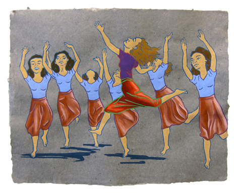 """The Ladies: Modern Dance,  2013  16"""" x 20"""" Flashe on paper"""