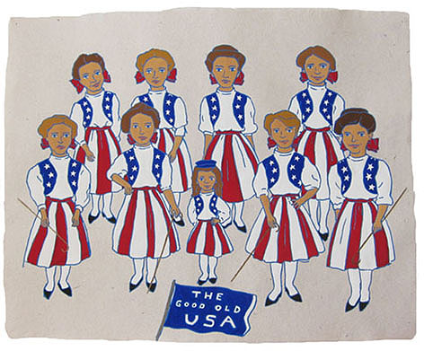 "The Ladies: Patriotic,  2012  16"" x 20"" Flashe on paper"