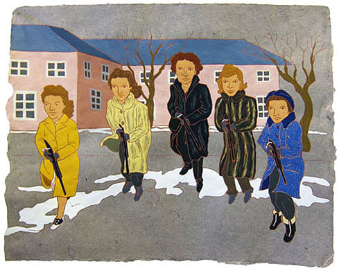 """The Ladies: Home Guard Rifle Drill, 1940s,  2012  16"""" x 20"""" Flashe on paper"""