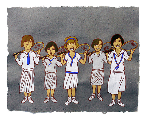 """The Ladies: Tennis Team,  2011  16"""" x 20"""" Flashe on paper"""