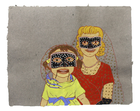 """The Ladies: Ventriloqust,  2011  16"""" x 20"""" Flashe on paper"""