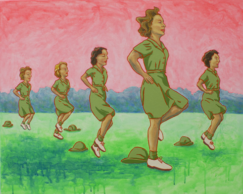 "The Ladies: Army Auxiliary Corps, 1940s,  2012  24"" x 30"" Oil, enamel & flashe on canvas"
