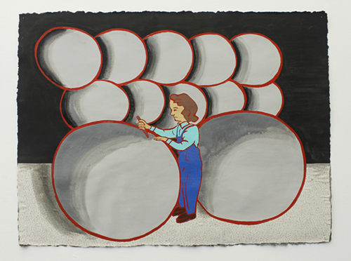 "The Ladies: Munitions Plant, 1940s,  2011  24"" x 30"" Oil, enamel, flashe, fabric on canvas"