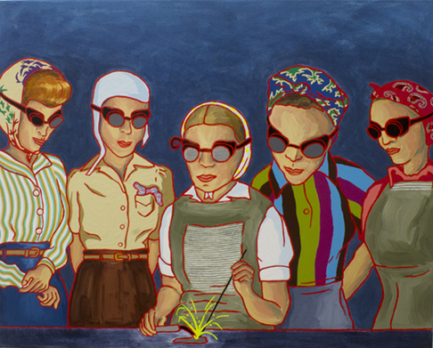 "The Ladies: Munitions Plant 5, 1940s,  2012  24"" x 30"" Oil, enamel & flashe on canvas"