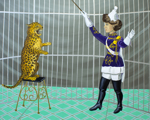"The Ladies: Jaguar Trainer,  2012  16"" x 20"" Flashe on paper"