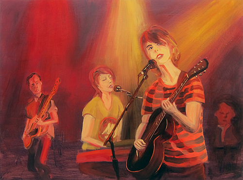 "Tegan & Sara,  2014  36"" x 48"" Oil on canvas"