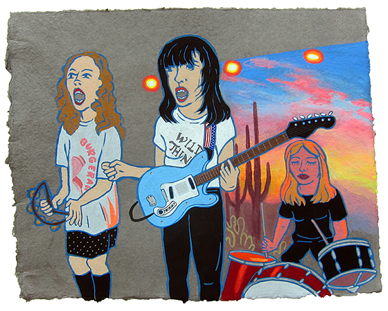 "Death valley girls,  2015  16"" x 20"" Flashe on paper"