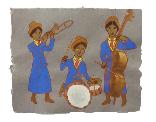 "Jazz Trio,  2011  16"" x 20"" Flashe on paper"