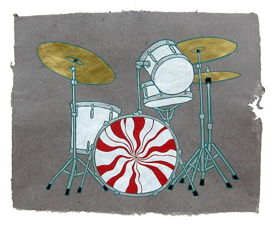 "White Stripes, Meg White's drum kit,  2013  16"" x 20"" Flashe on paper"