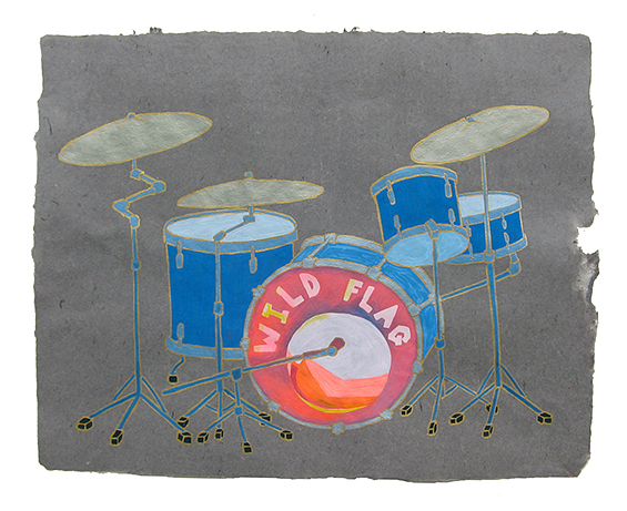 "Wild Flag, Janet Wiess' drum kit,  2013  16"" x 20"" Flashe on paper"