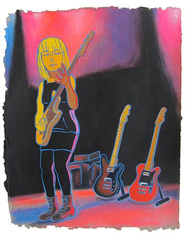 """Jenn Wasner, Wye Oak , 2015  16""""x20"""" flashe on paper"""