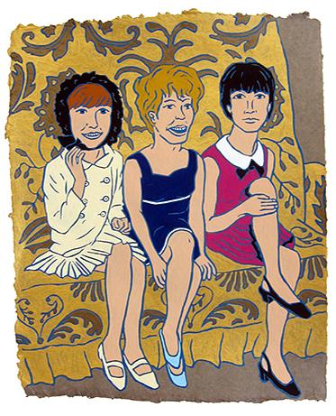 "Cilla Black, Petula Clark & Sandi Shaw,  2015  20"" x 16"" Flashe on paper"