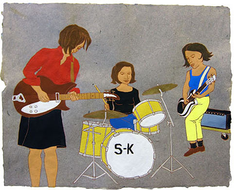 "Sleater Kinney,  2012  16"" x 20"" Flashe on paper"