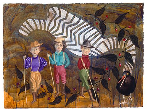 "The Ladies: Alaskan Prospectors,  2011  23"" x 30"" Oil & spray paint on paper"