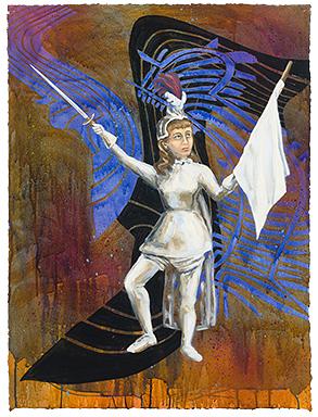 "The Ladies: Alice Atherton,  2011  30"" x 23"" Oil & spray paint on paper"