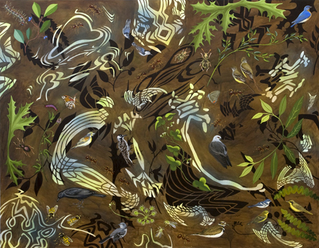 """Biome: Southern Deciduous Forest,  2009  56"""" x 72"""" Oil & spray paint on canvas"""