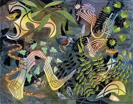 "Biome: Florida Everglades,  2010  40"" x 50"" Oil & spray paint on canvas"