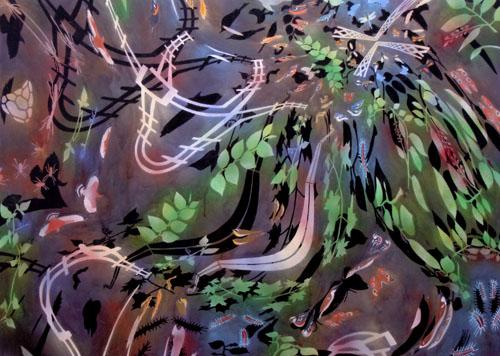 "Biome: Karner Blue,  2006  48"" x 67"" Oil & spray paint on canvas"