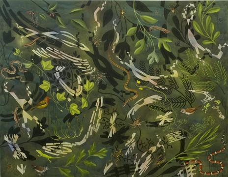 """Biome: Louisiana Bayou,  2009  56"""" x 72"""" Oil & spray paint on canvas"""