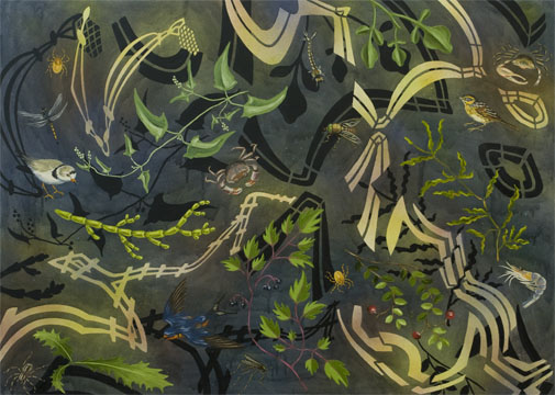 "Biome: Northeast Coast Salt Marsh,  2009  36"" x 50"" Oil & spray paint on canvas"