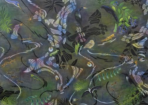 """Biome: Random,  2008  48"""" x 67"""" Oil & spray paint on canvas"""