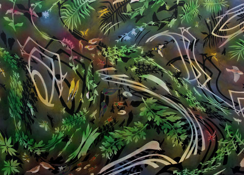 """Biome: Surround,  2006  48"""" x 67"""" Oil & spray paint on canvas"""