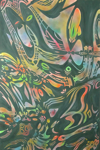 """Spiders, birds and other things,  2004  84"""" x 60"""" Oil & spray paint on canvas"""