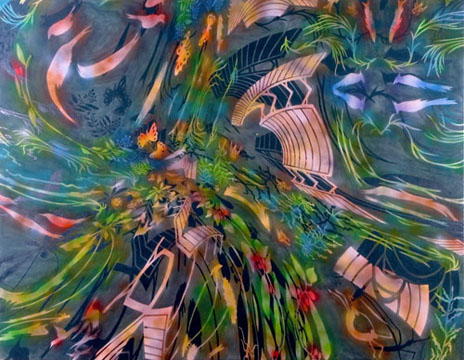"Undertow,  2006  84"" x 108"" Oil & spray paint on canvas"