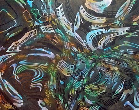 "Vortex,  2005  72"" x 90"" Oil & spray paint on canvas"