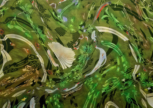 "Serene Velocity,  2006  60"" x 84"" Oil & spray paint on canvas"