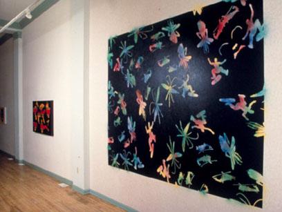 Night Navy,  2001  7' x 9'Enamel, spray paint and wallpaper on wall  Dean Jensen Gallery, Milwaukee, WI