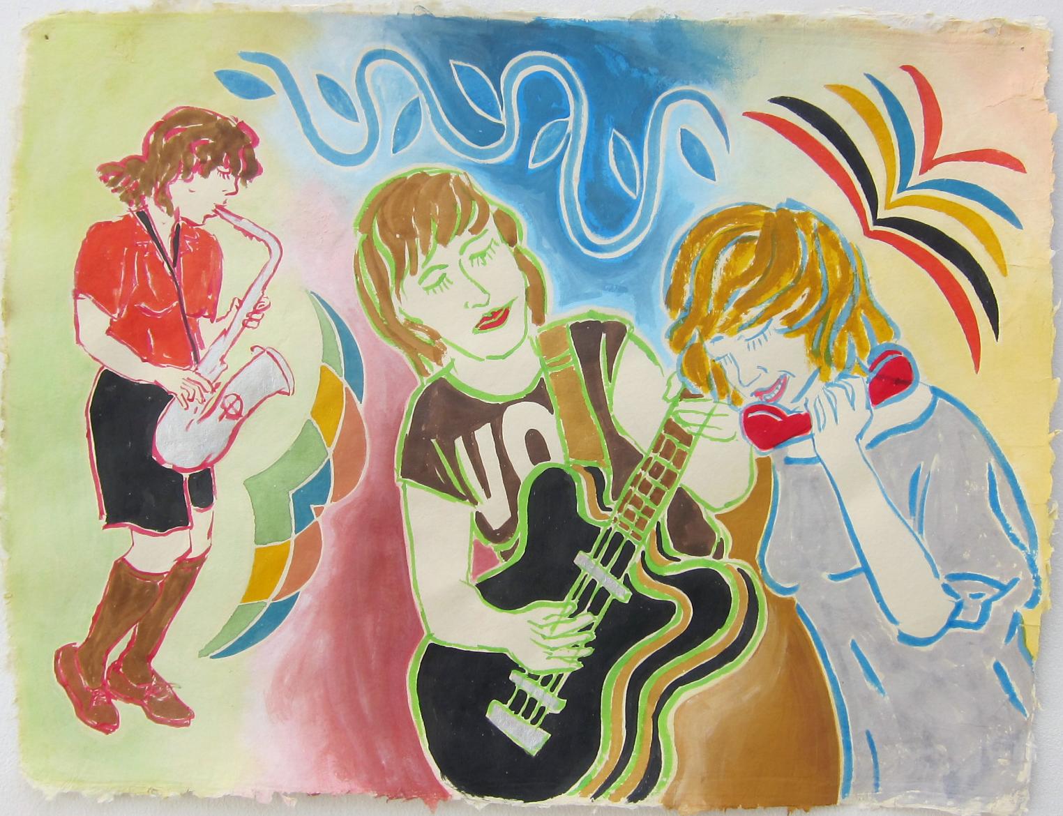 """Mika Miko   19""""x25"""" flashe on paper  2015"""