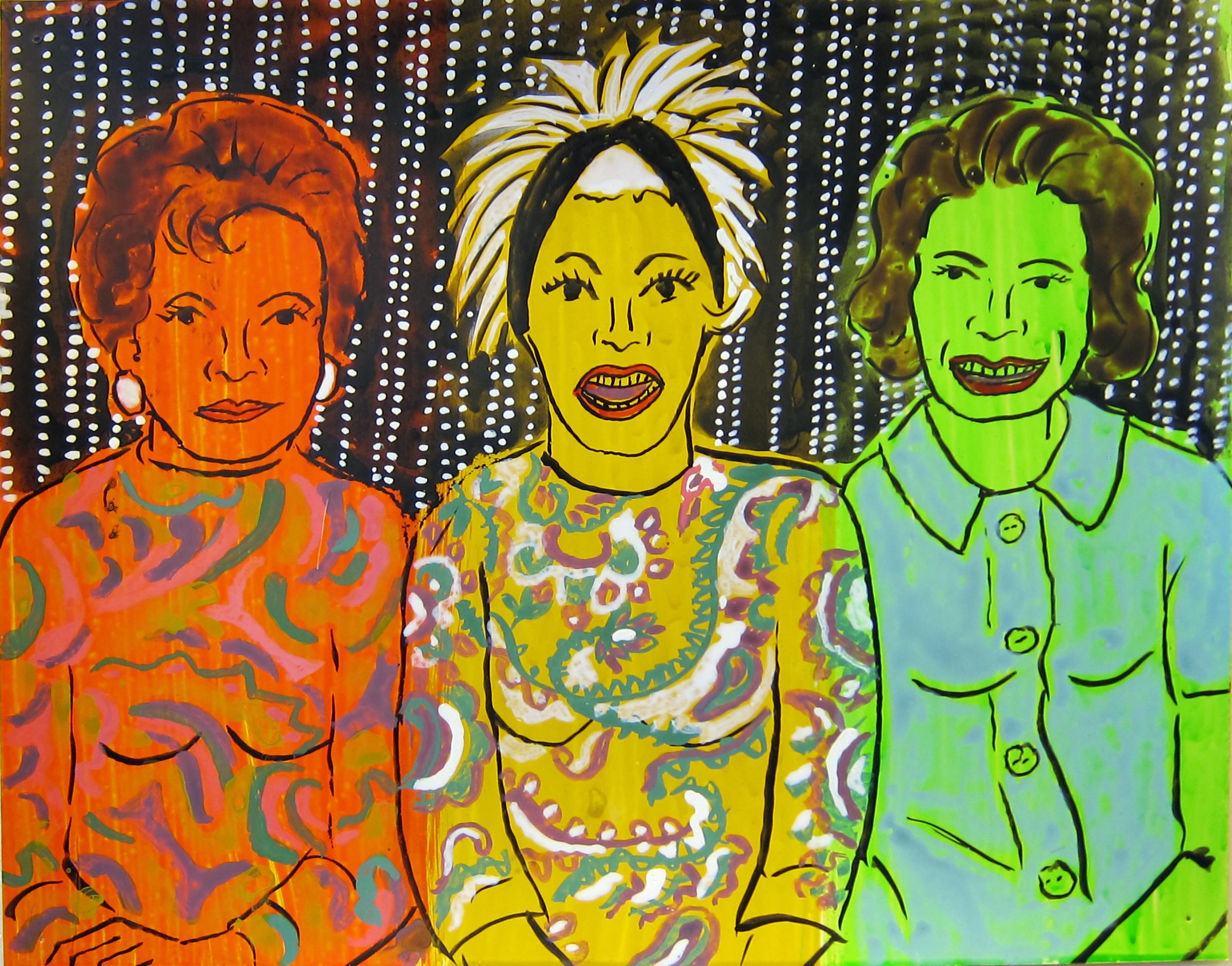 "Three Women , 2016  9.5""x12"" ink on paper"