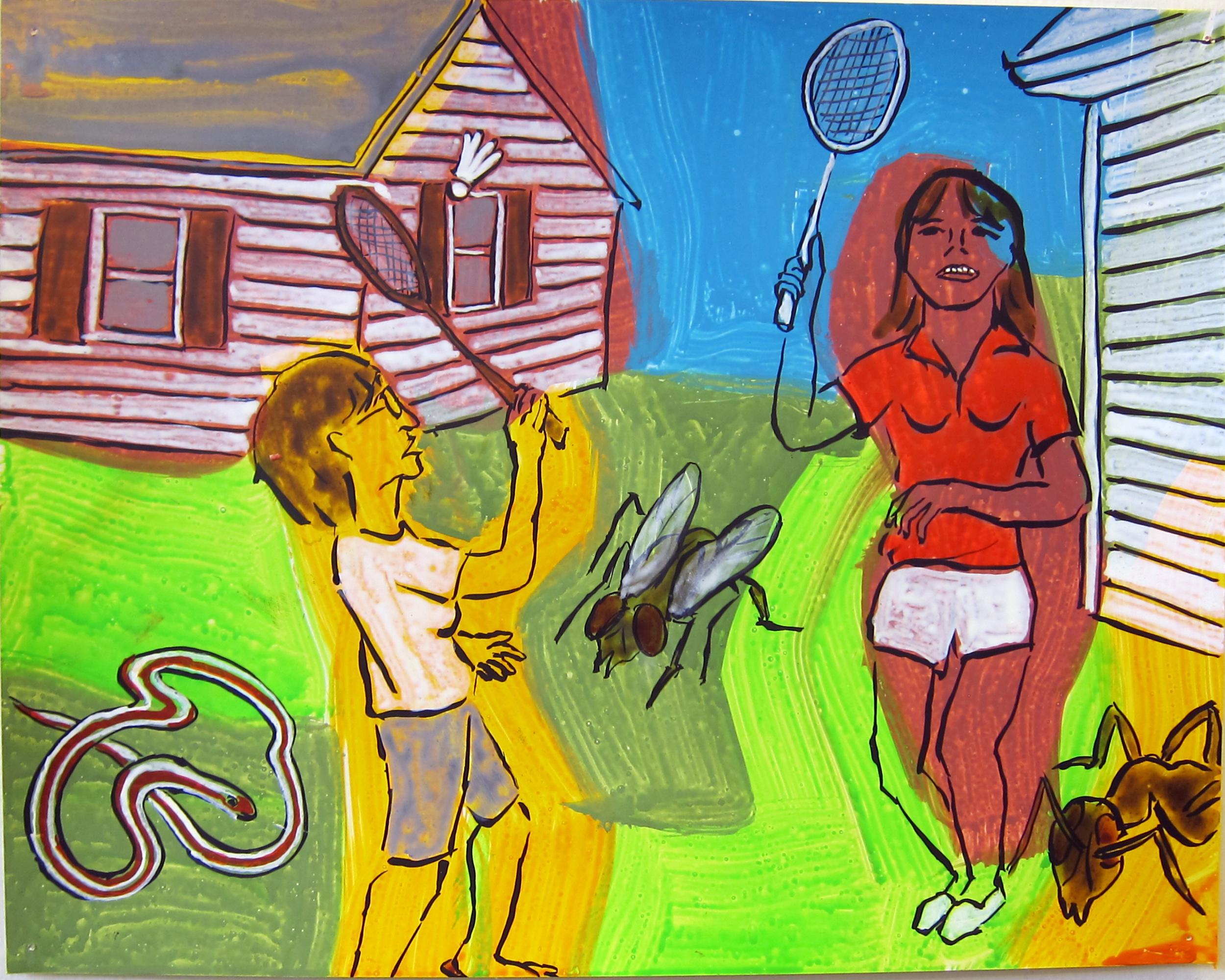 "Badminton , 2016  9.5""x12"" ink on paper"