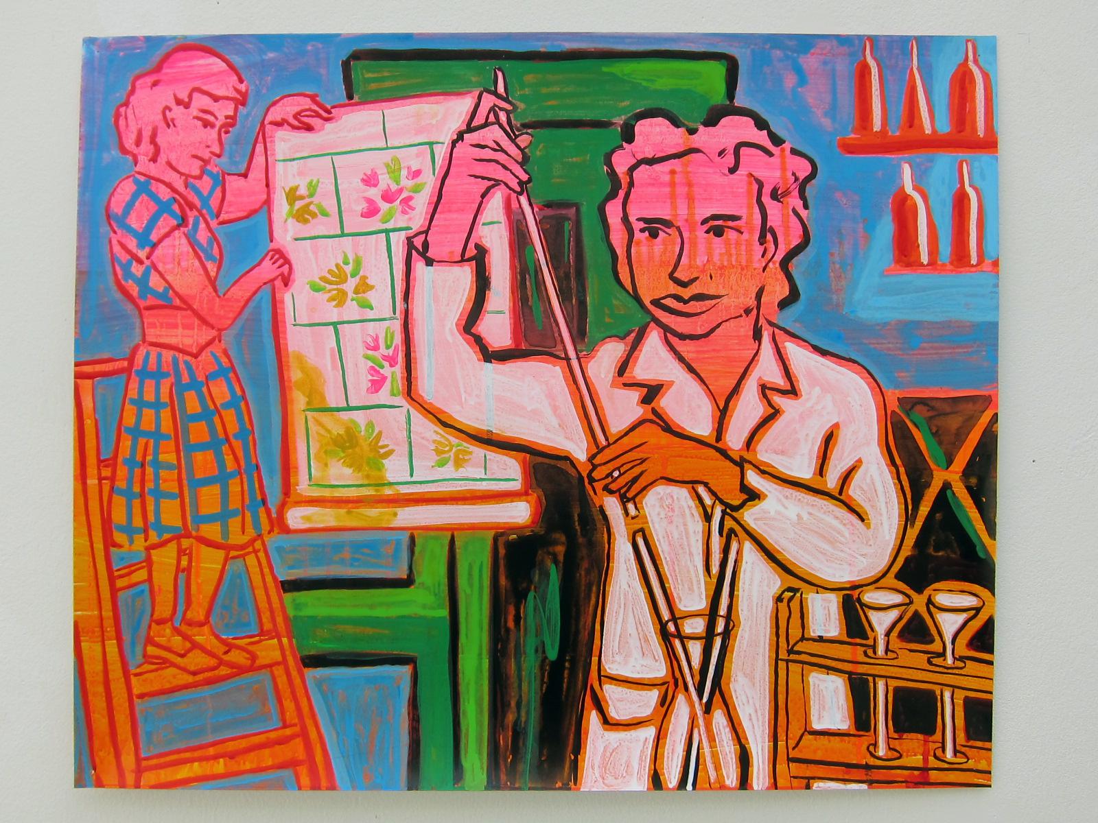 "Gerti Radnitz Cori, scientist   20""x24"" ink & flashe on paper  2016"