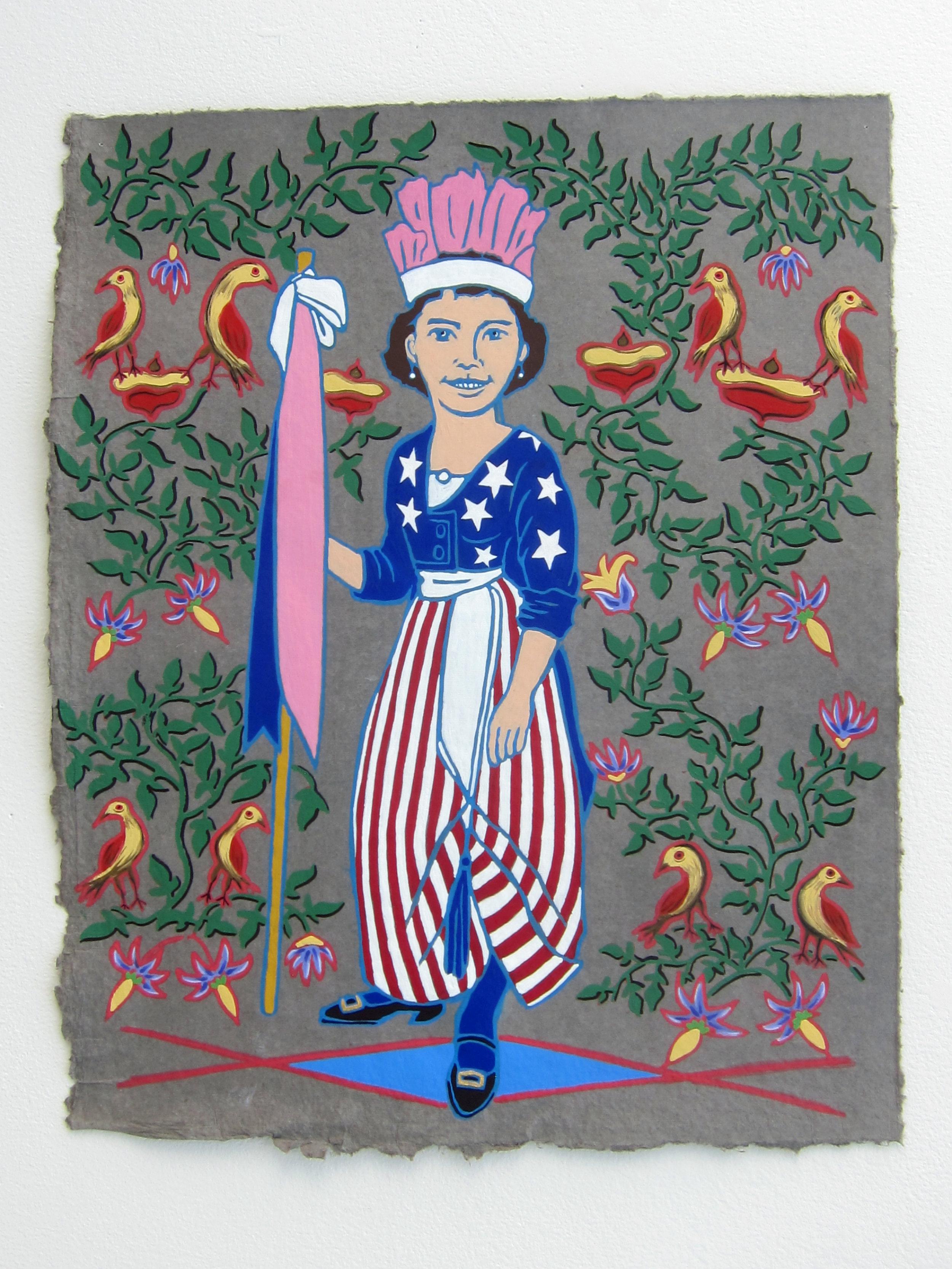 """Lady Liberty   20""""x16"""" flashe on paper  2015"""