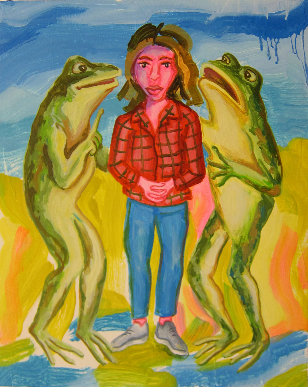"Frog Whisperer   20""x16""  ink on panel  2018"
