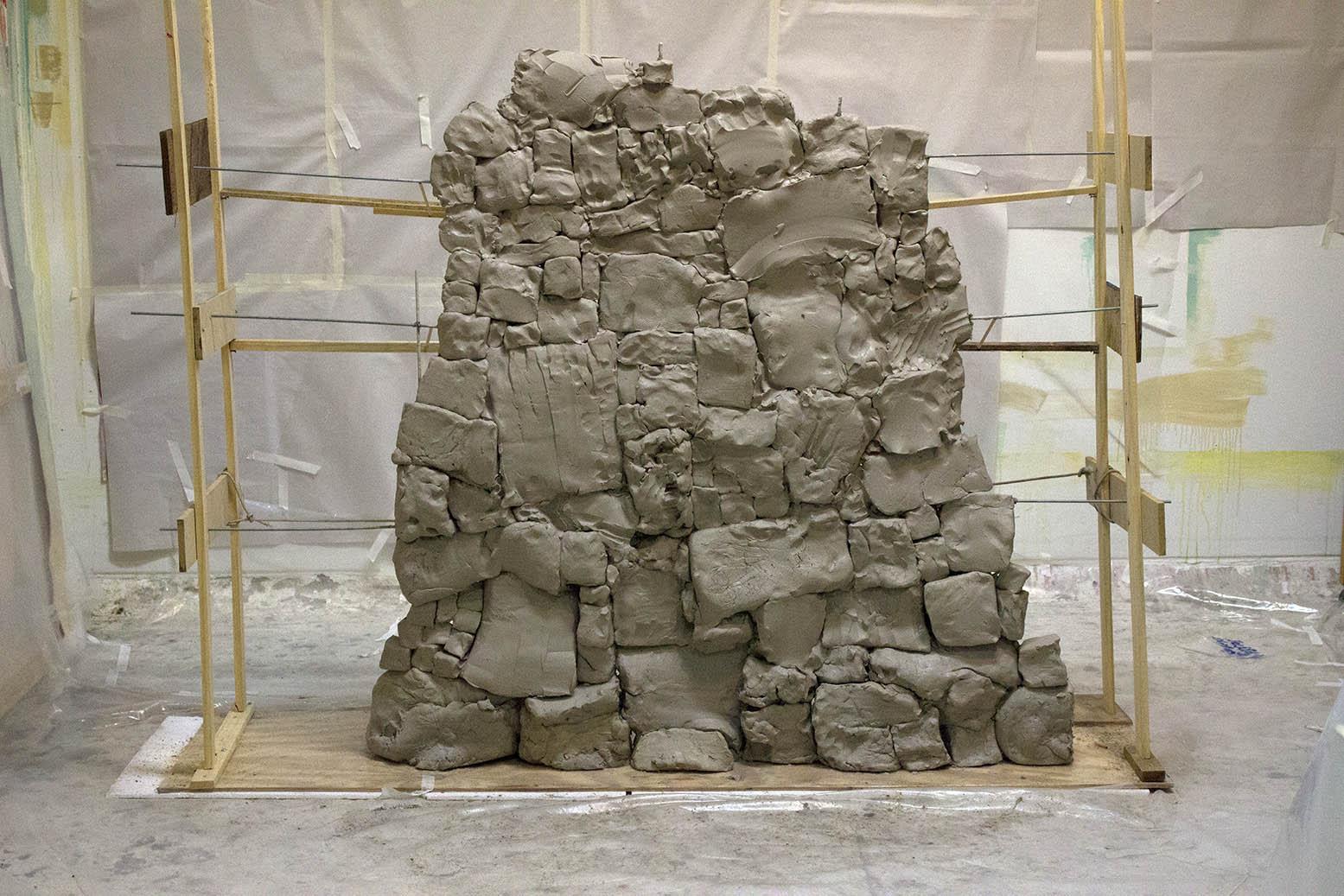 Wall , moist clay, 6 x 6 x 1 feet, 2016.
