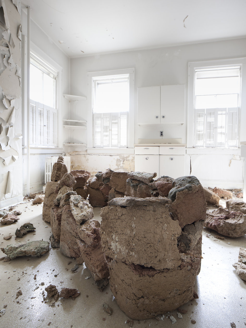 Dissolution,  paper pulp, dimensions variable, 2016. Site specific work for Governors island Art fair 2016.