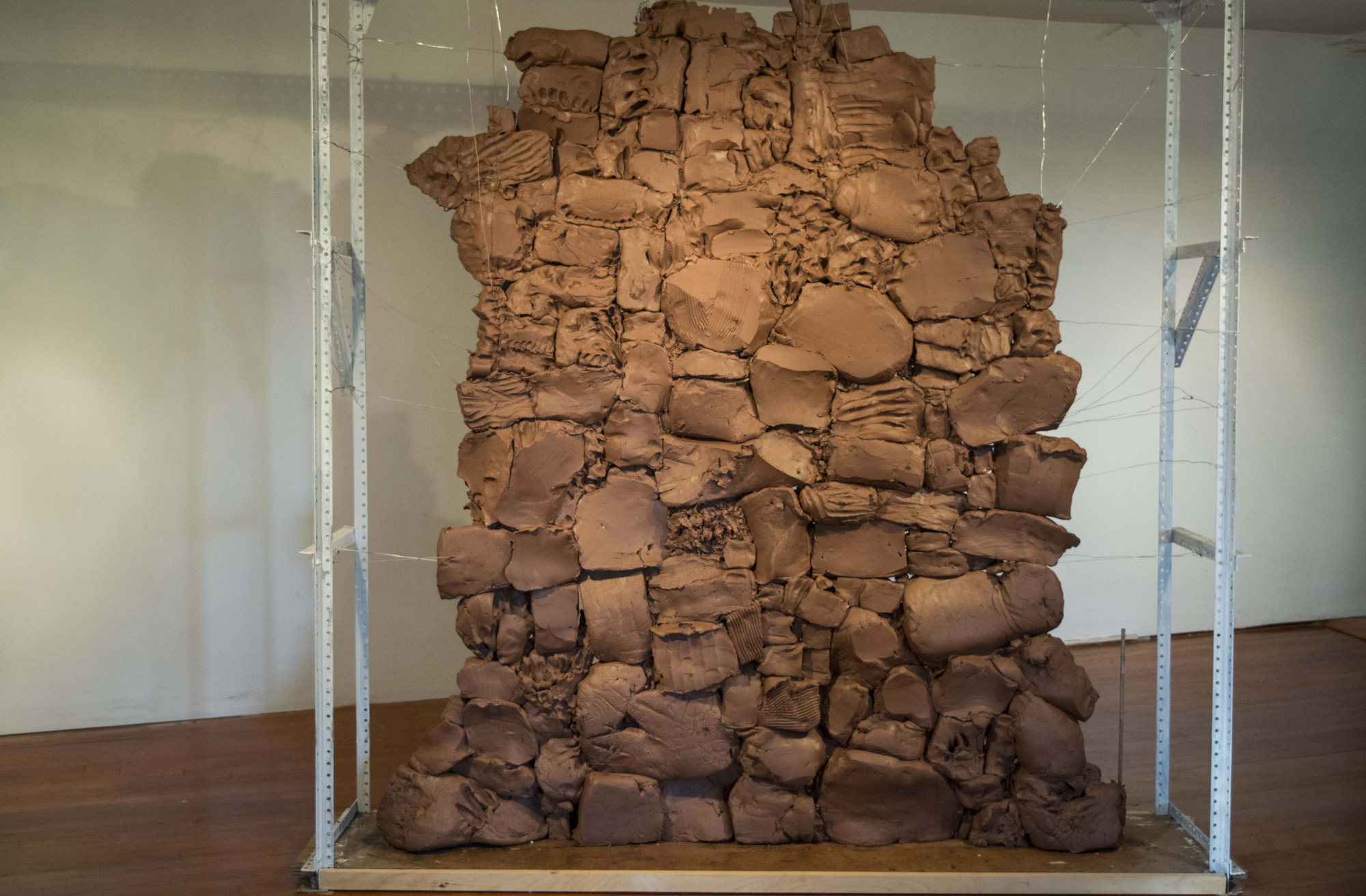 Wall , moist clay, 7 x 6 x 1 feet, 2016. Site specific work for Crystal Park Open Studios, Holmes, New York.