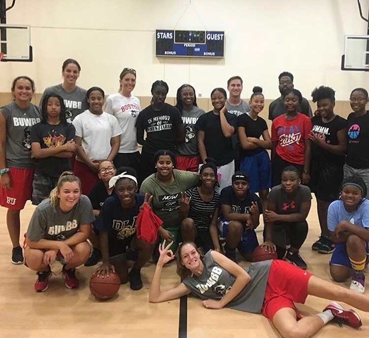 Boston University Women's Basketball Team work with our athletes this Fall.