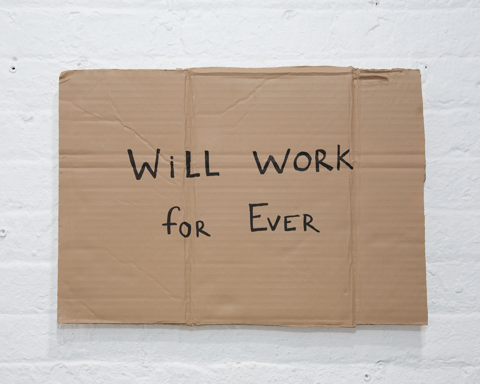 """Alejandro Diaz,  Will Work For Ever , 13"""" x 18.5"""", acrylic paint on cast resin, 2012"""