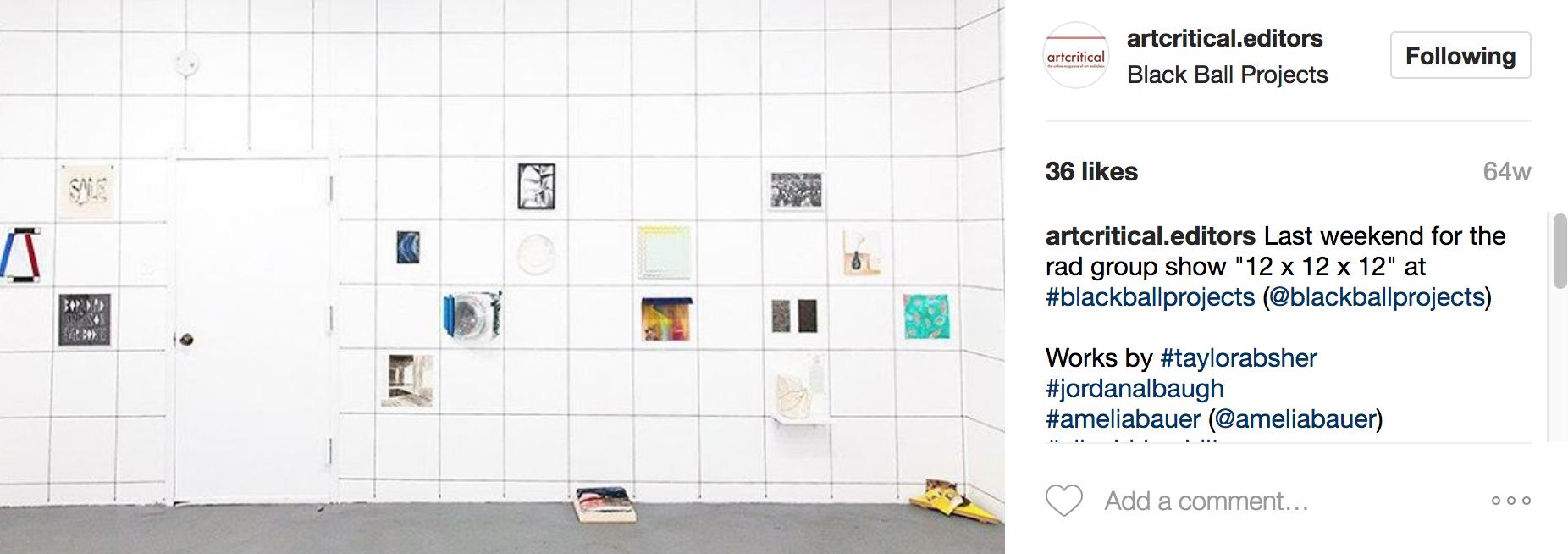 Art Critical Instagrams 12x12x12