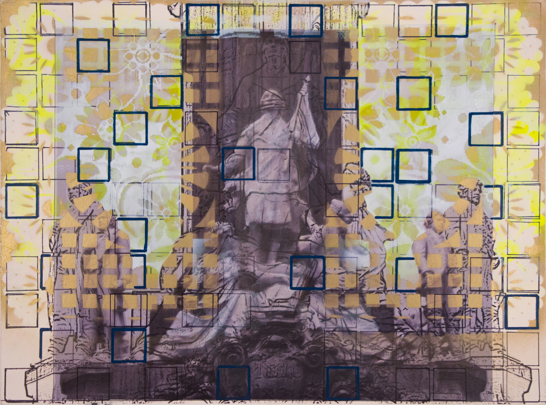 """Lower Independencia with Squares,  22"""" x 30"""", Adhesive vinyl, markers and spray paint on paper, 2015"""