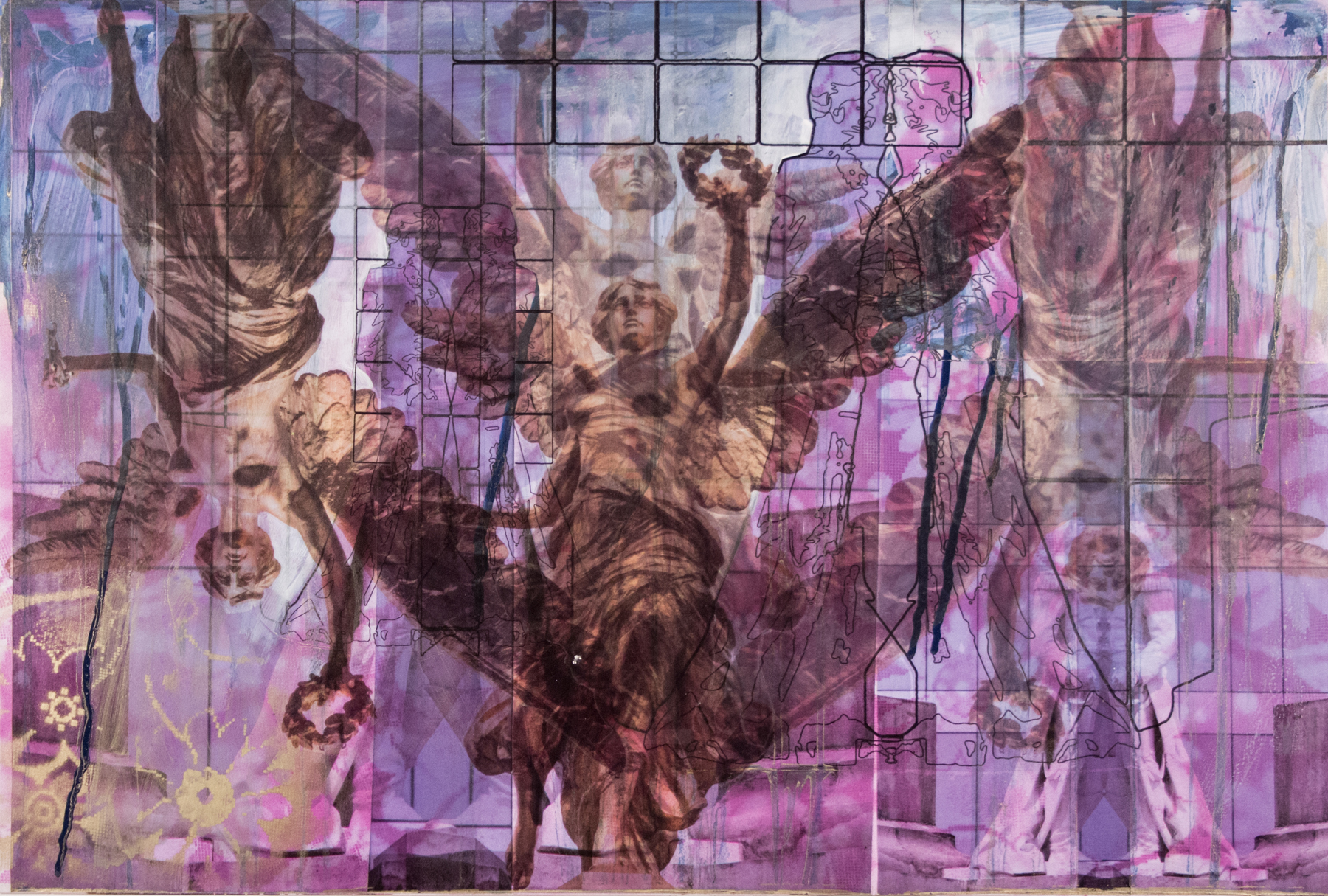 """Purple-Blue Independencia with Love,  20"""" x 30"""", Adhesive vinyl, acrylic and spray paint on board, 2015"""