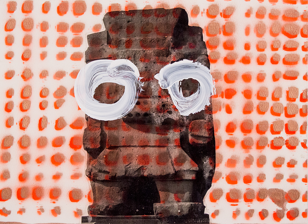 """Orange Tlaloc with Eyes , 11"""" x 14.75"""", Digital prints with acrylic and spray paint on paper, 2015"""